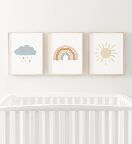 Pink, Blue and Neutral Rainbw, Sun, and Cloud Set of 3 Prints