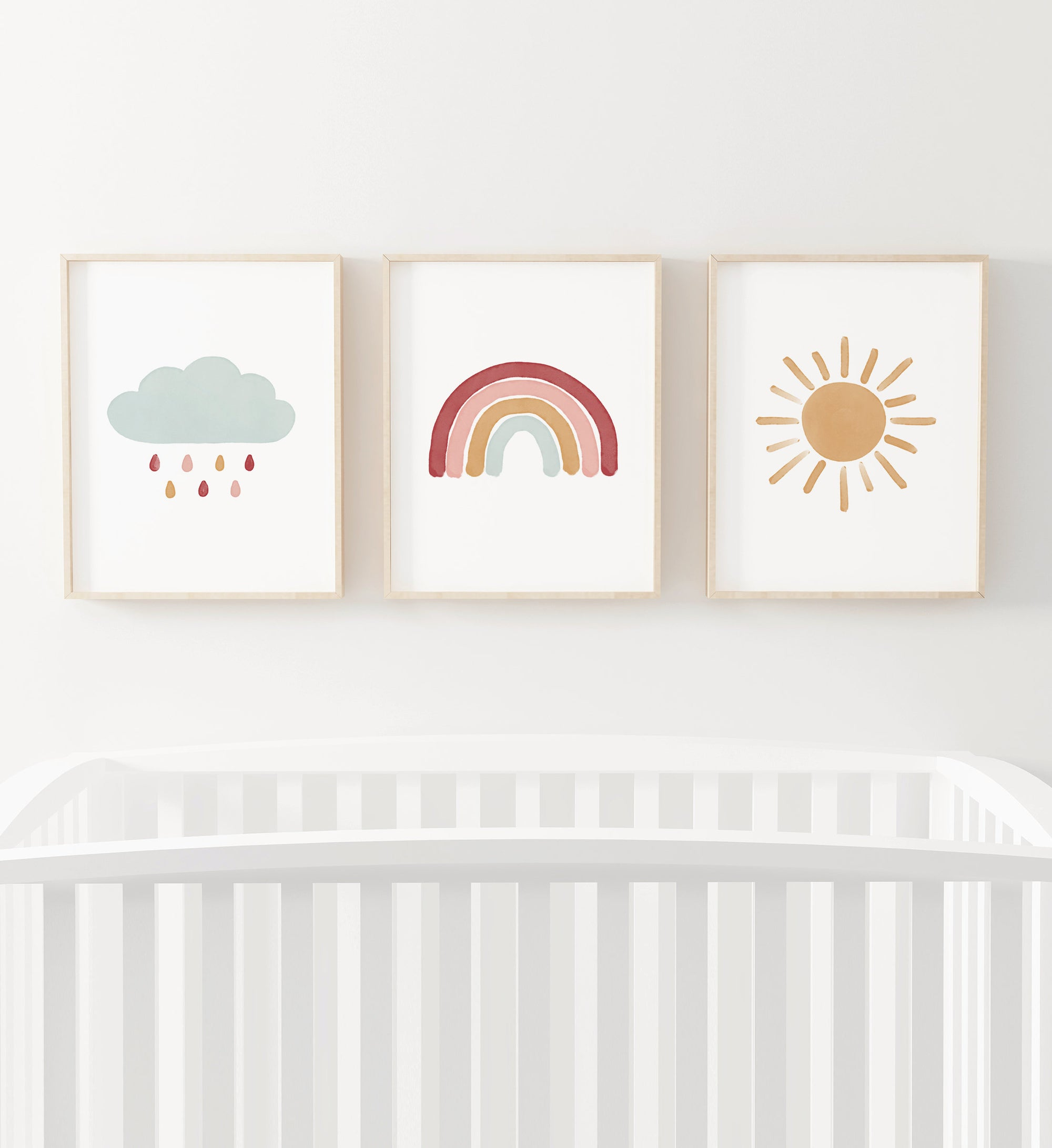 Rainbow, Cloud, and Sun Set of 3 Prints - Hot Pink