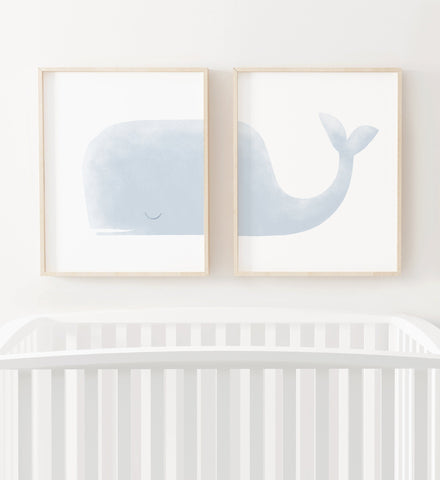 Light Blue Whale Set of 2 Prints