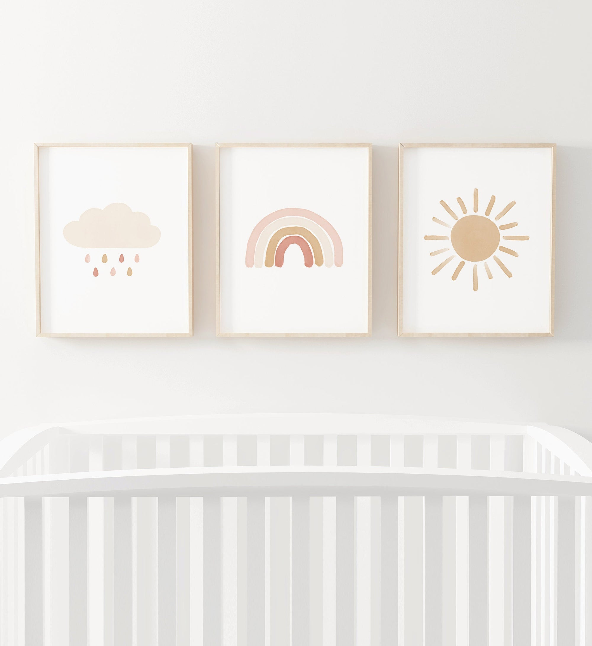 Rainbow, Cloud, and Sun Set of 3 Prints - Pink and Neutral
