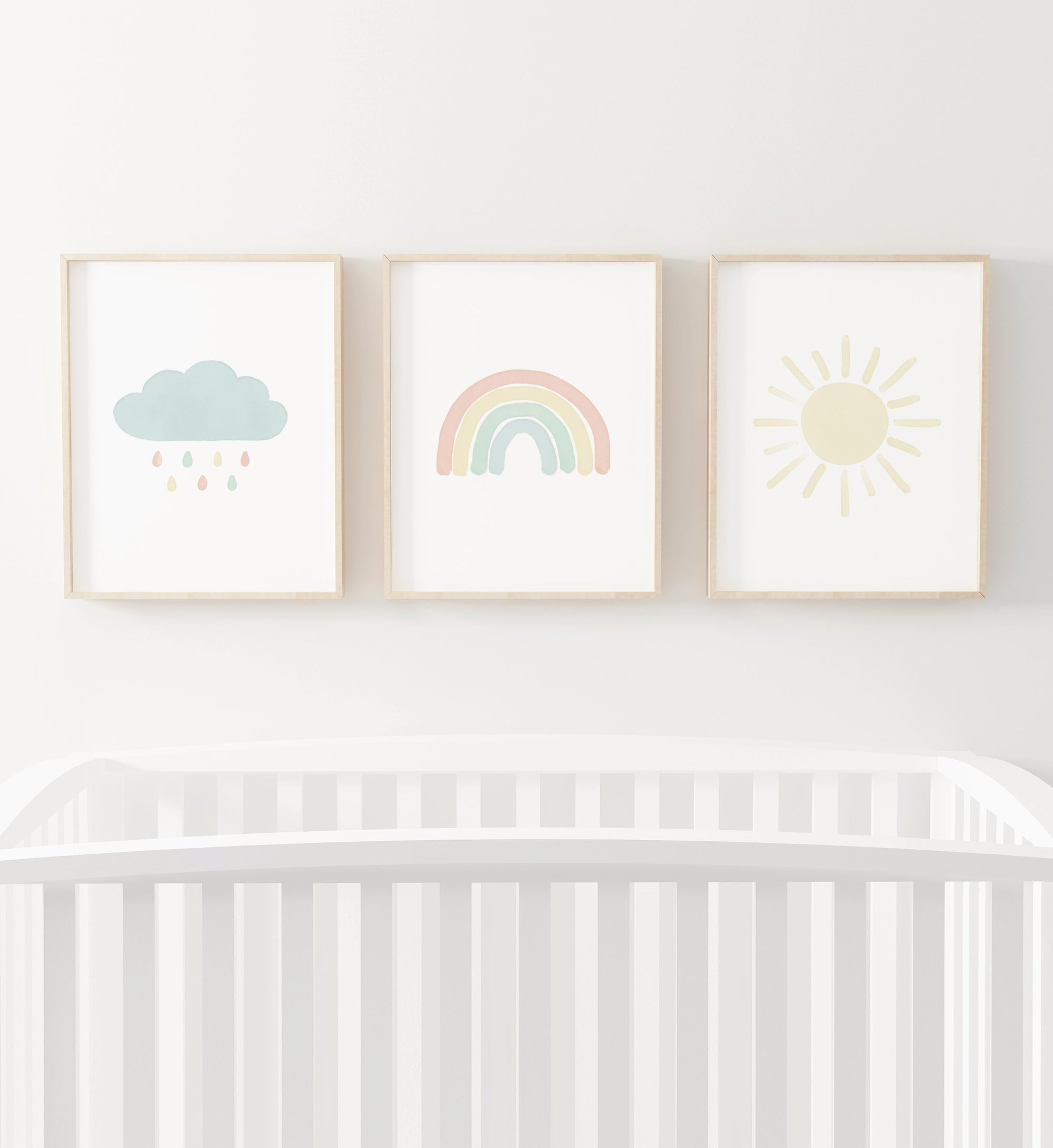 Rainbow, Cloud, and Sun Set of 3 Prints - Pastel