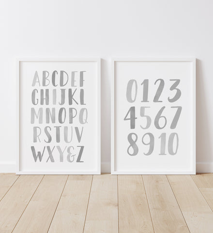 Gray Alphabet and Numbers Set of 2 Prints