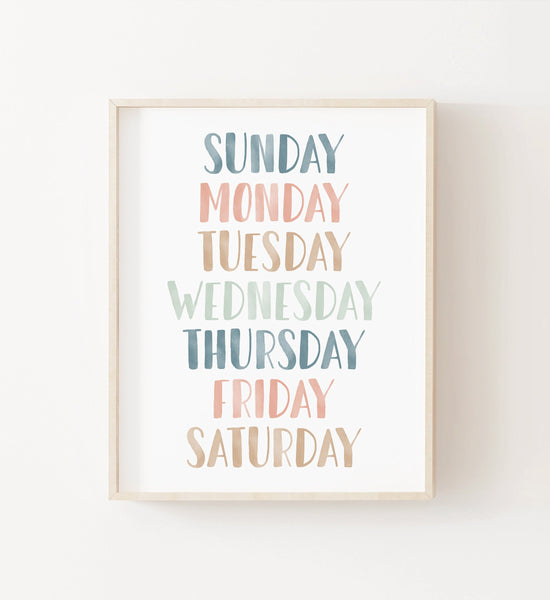 Pastel Days of the Week Print