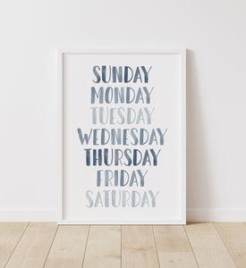 Blue Days of the Week Print