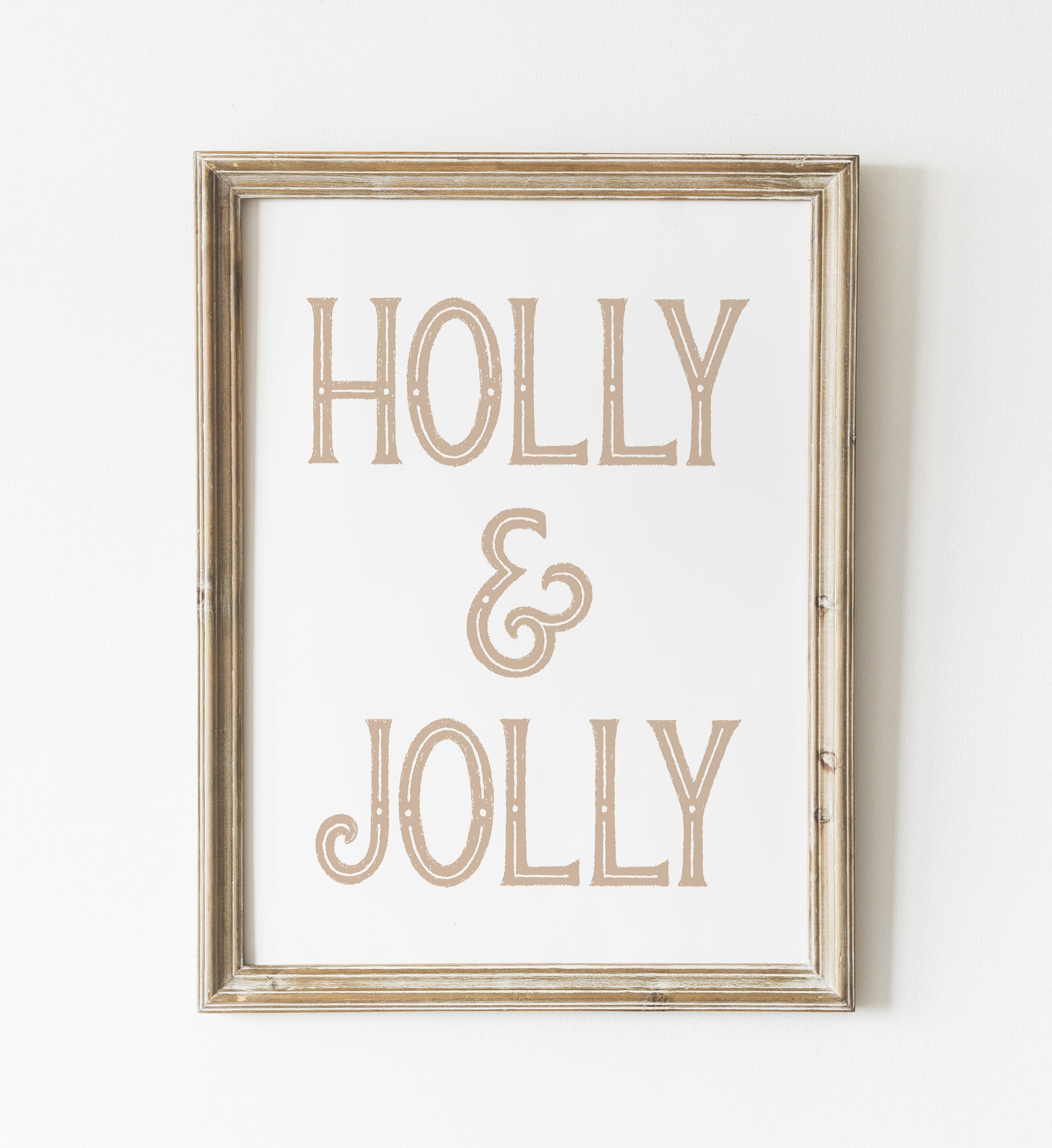 Gold Holly & Jolly Print