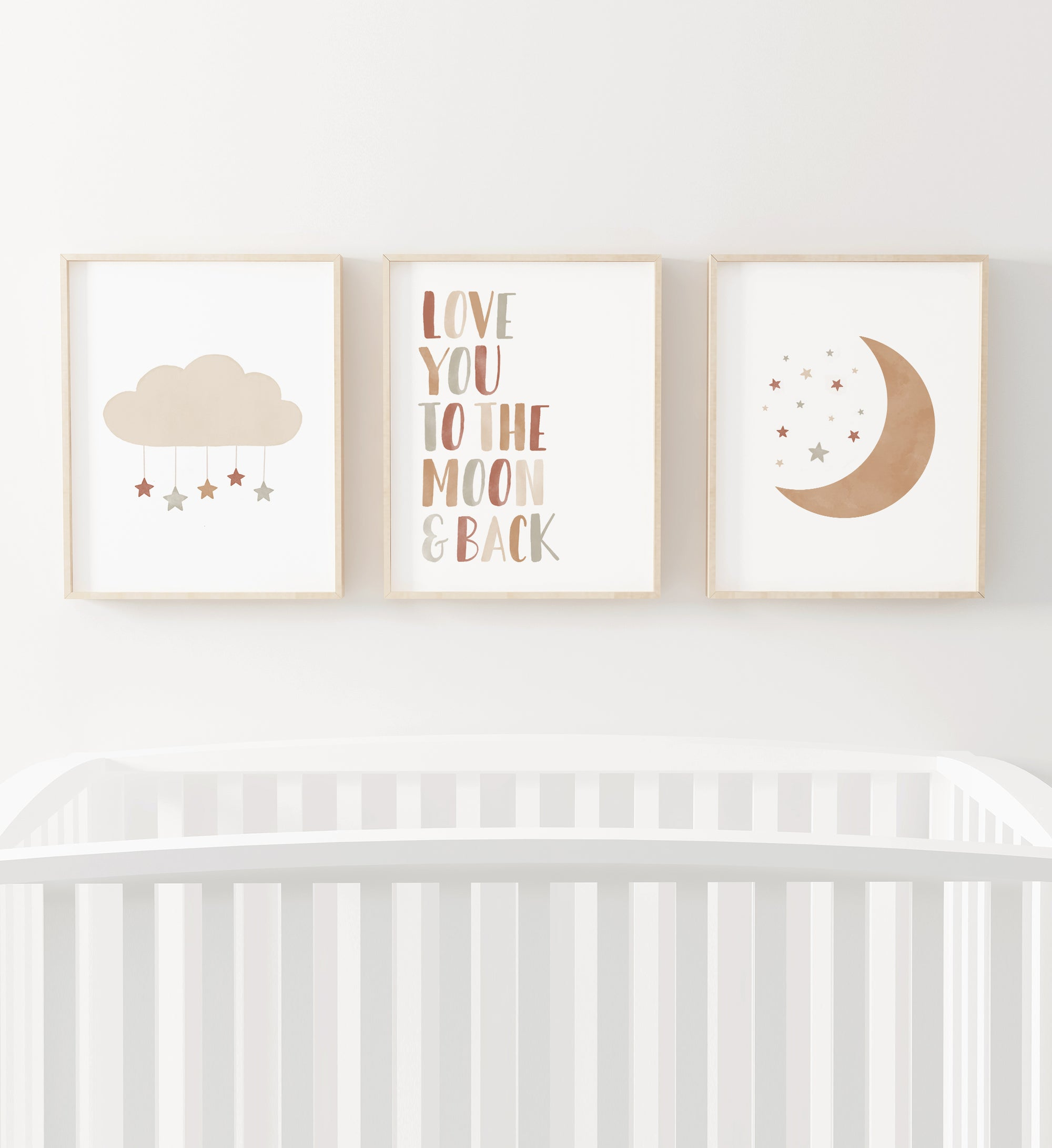 Love You to the Moon and Back, Cloud, and Moon - Terracotta