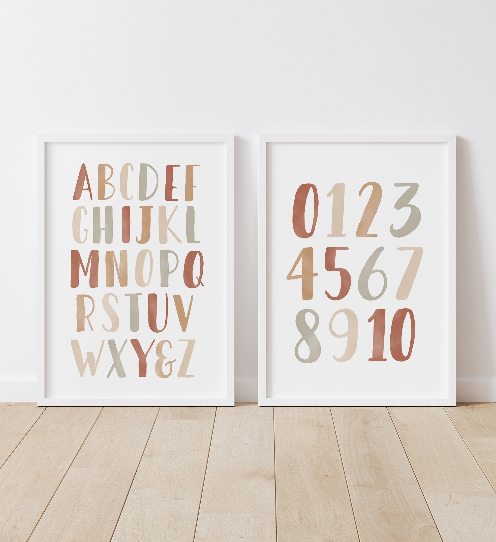 Alphabet and Numbers - Terracotta