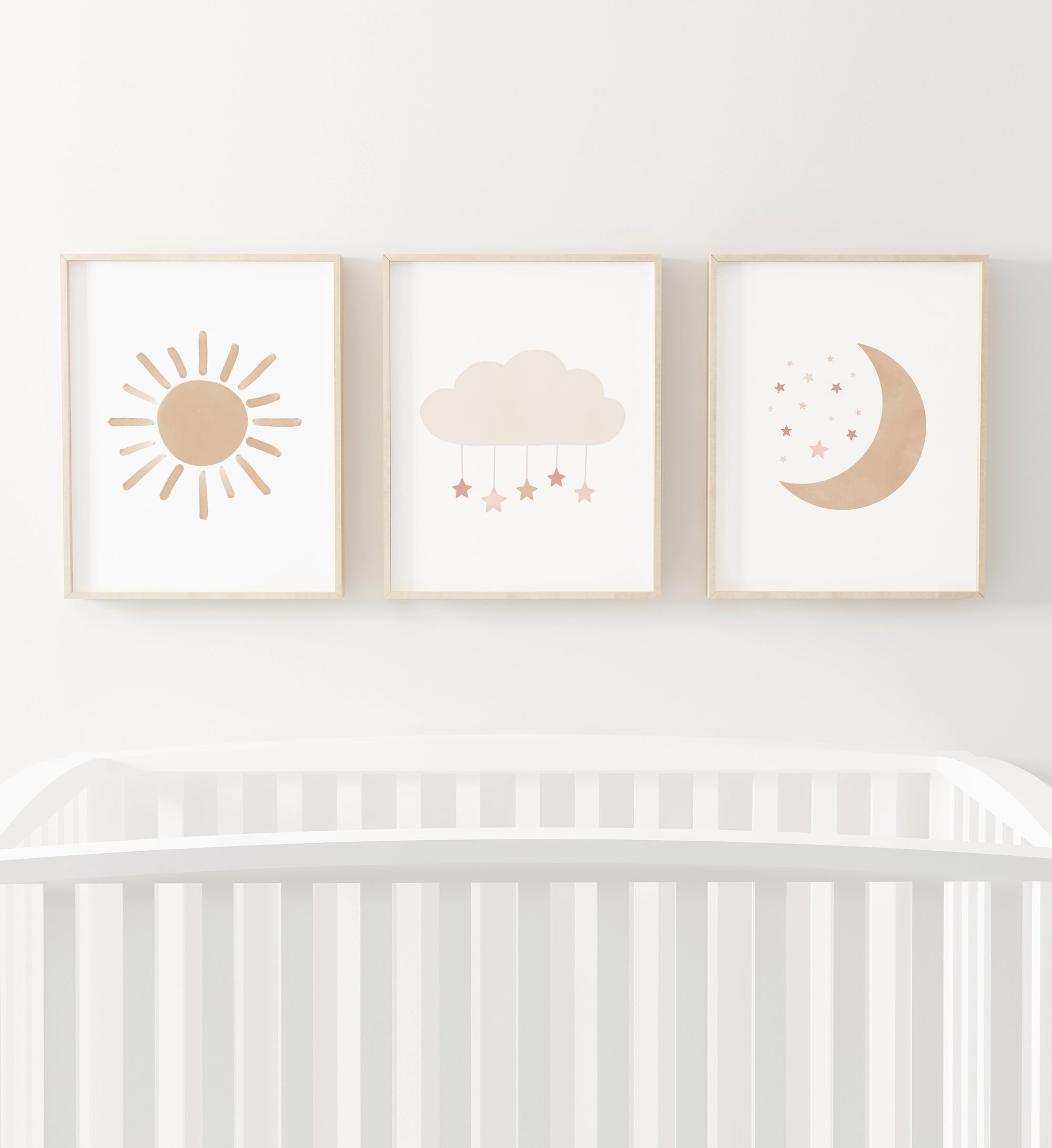 Sun, Cloud, and Moon - Pink and Neutral