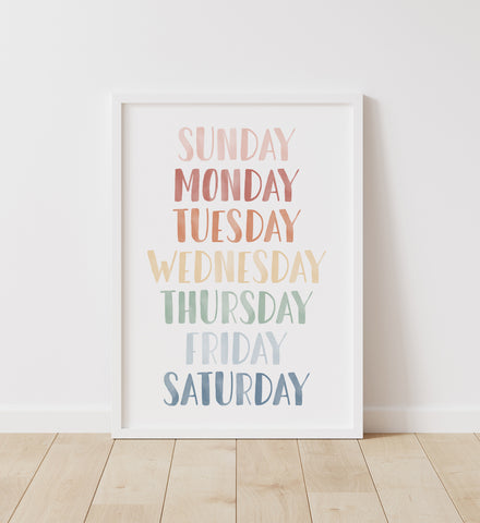 Muted Rainbow Days of the Week Print