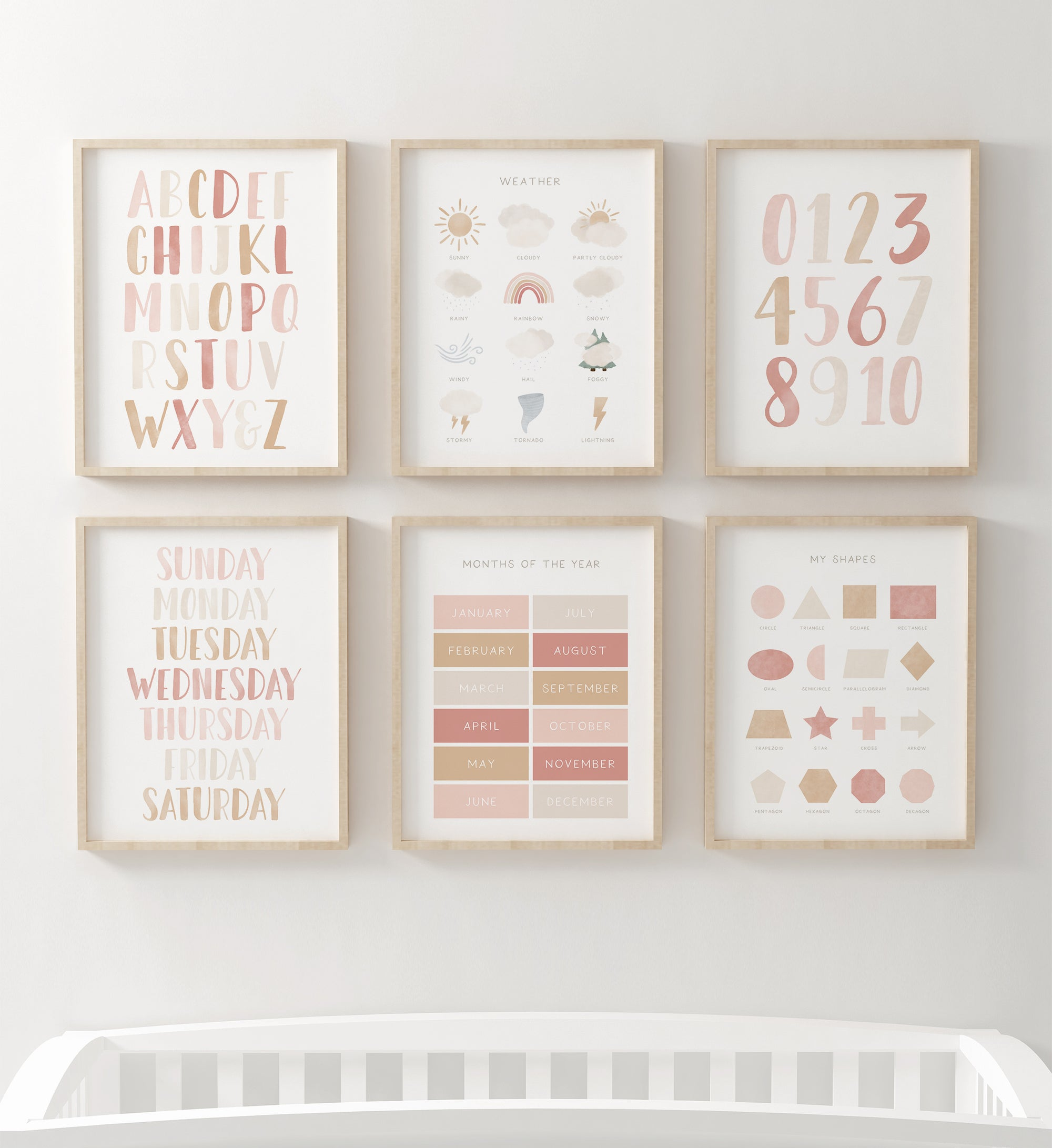 Educational Set of 6 - Pink and Neutral
