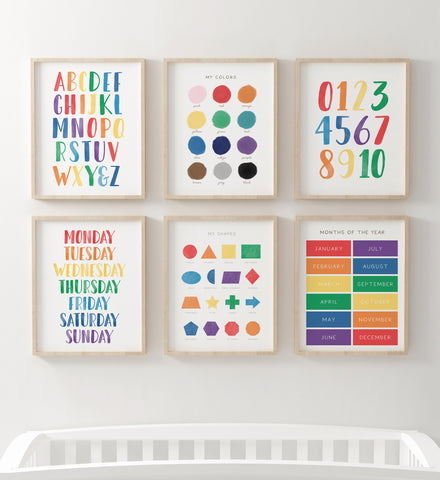 Bright Rainbow Educational Wall Art - Set of 6 Prints