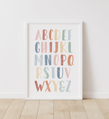 Muted Rainbow Alphabet Print