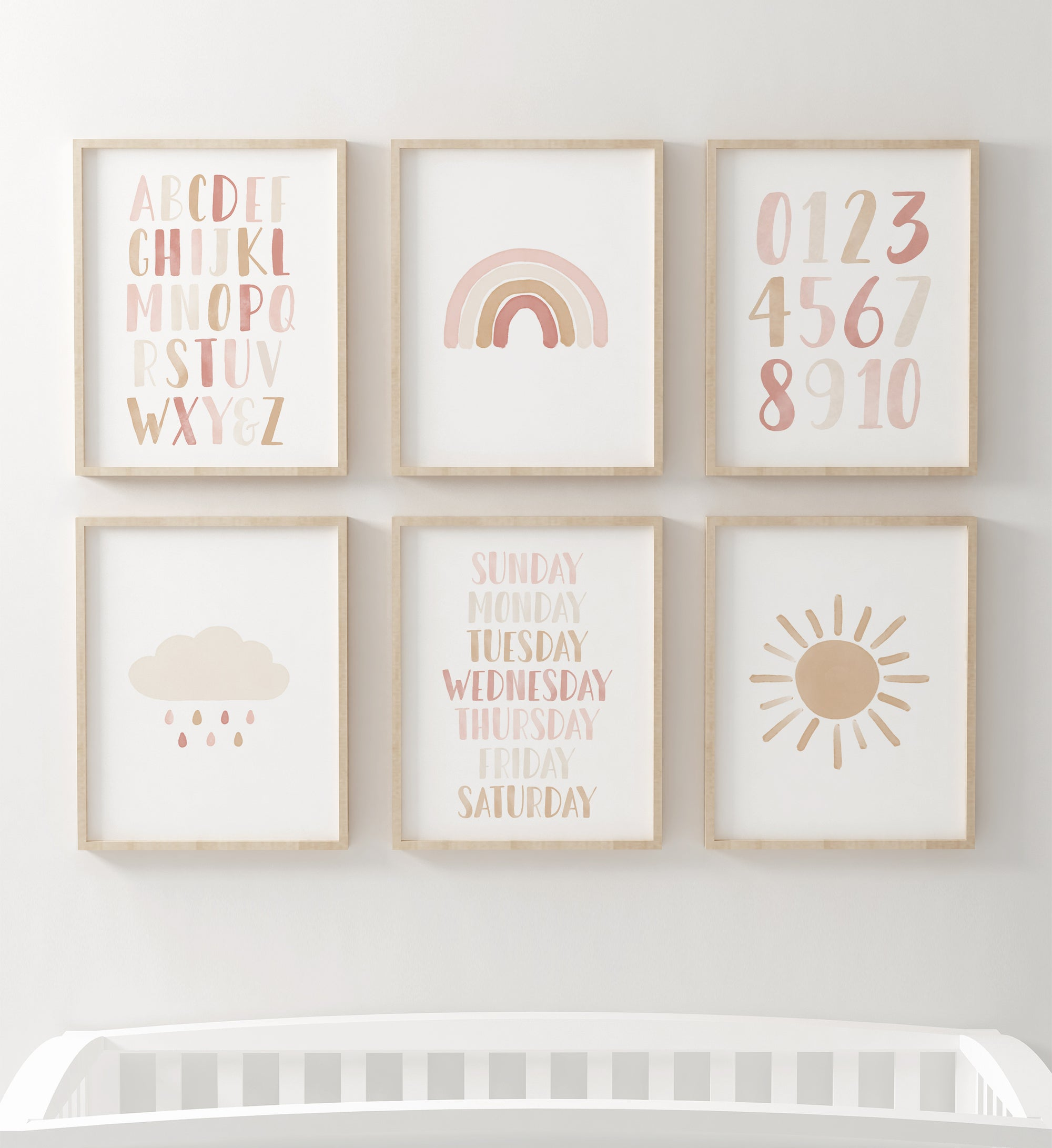 Rainbow and Educational Set of 6 Prints - Pink and Neutral