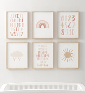 Neutral Rainbow and Educational Wall Art - Set of 6 Prints