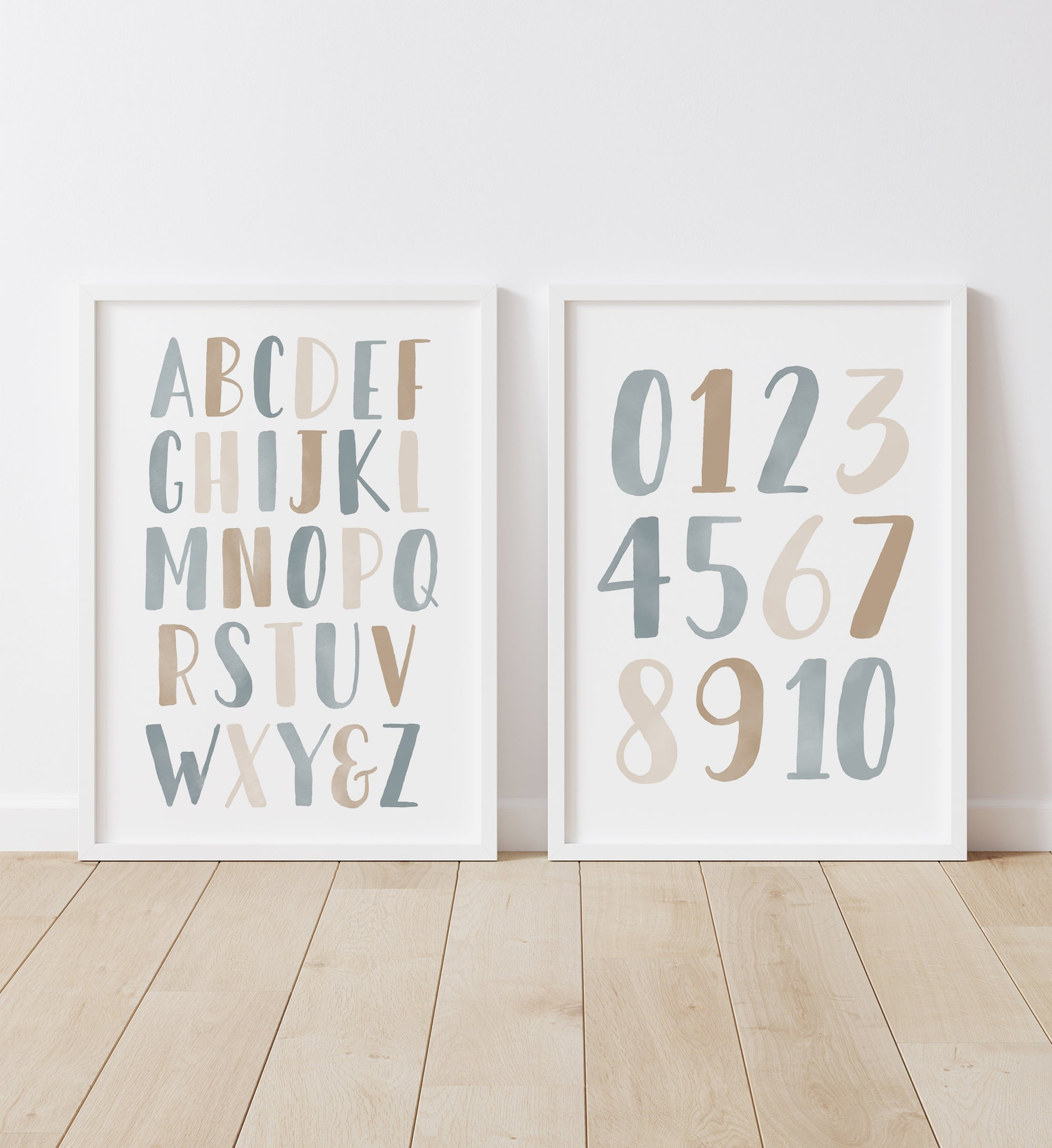 Alphabet and Numbers - Blue and Neutral