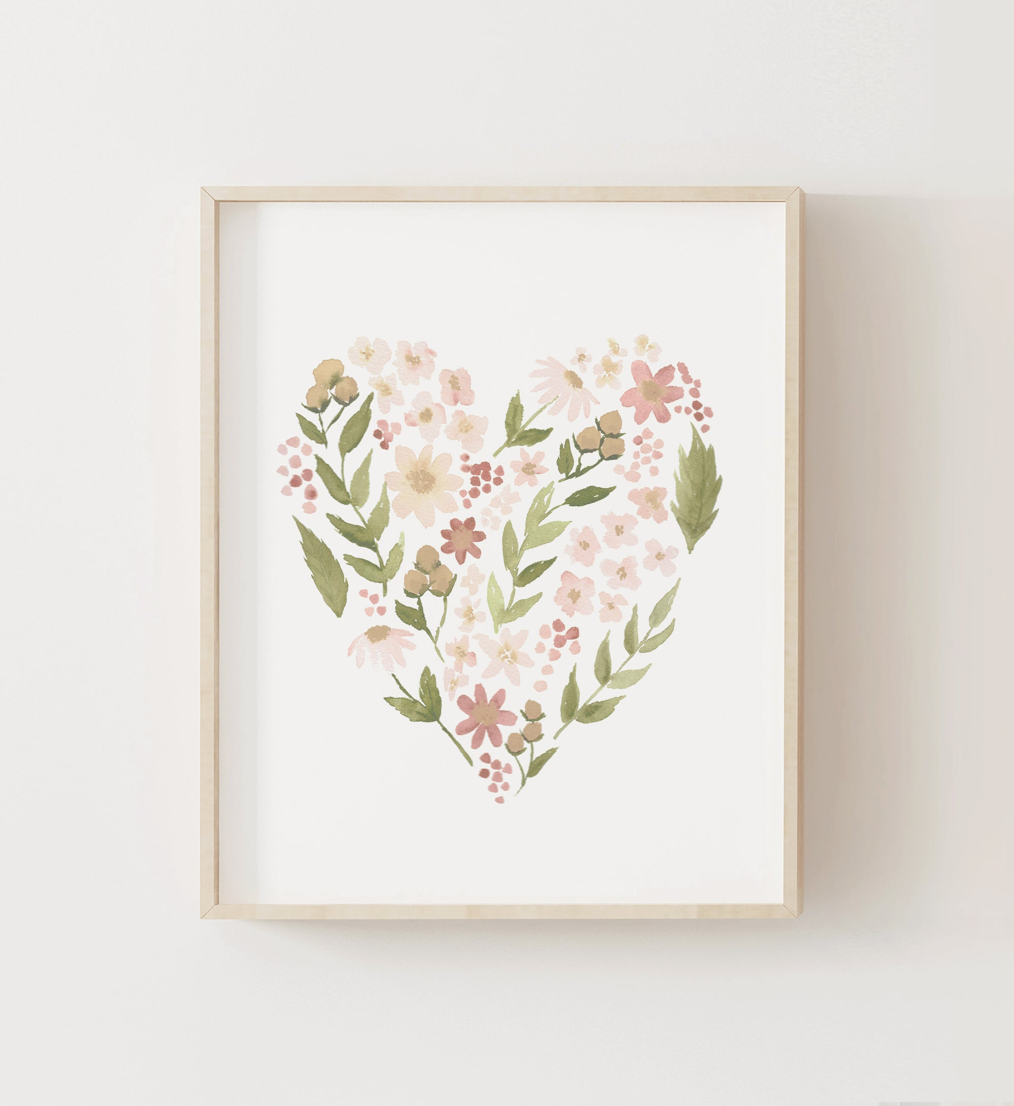 Floral Heart - Pink and Neutral