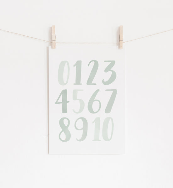 Mint Green Alphabet and Numbers Set of 2 Prints