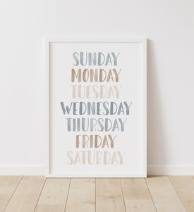 Blue and Neutral Days of the Week Print