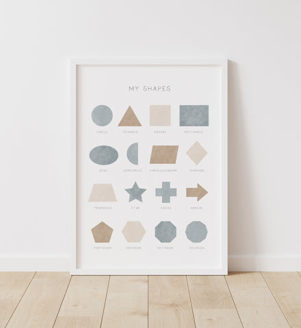 Blue and Neutral Shapes Print