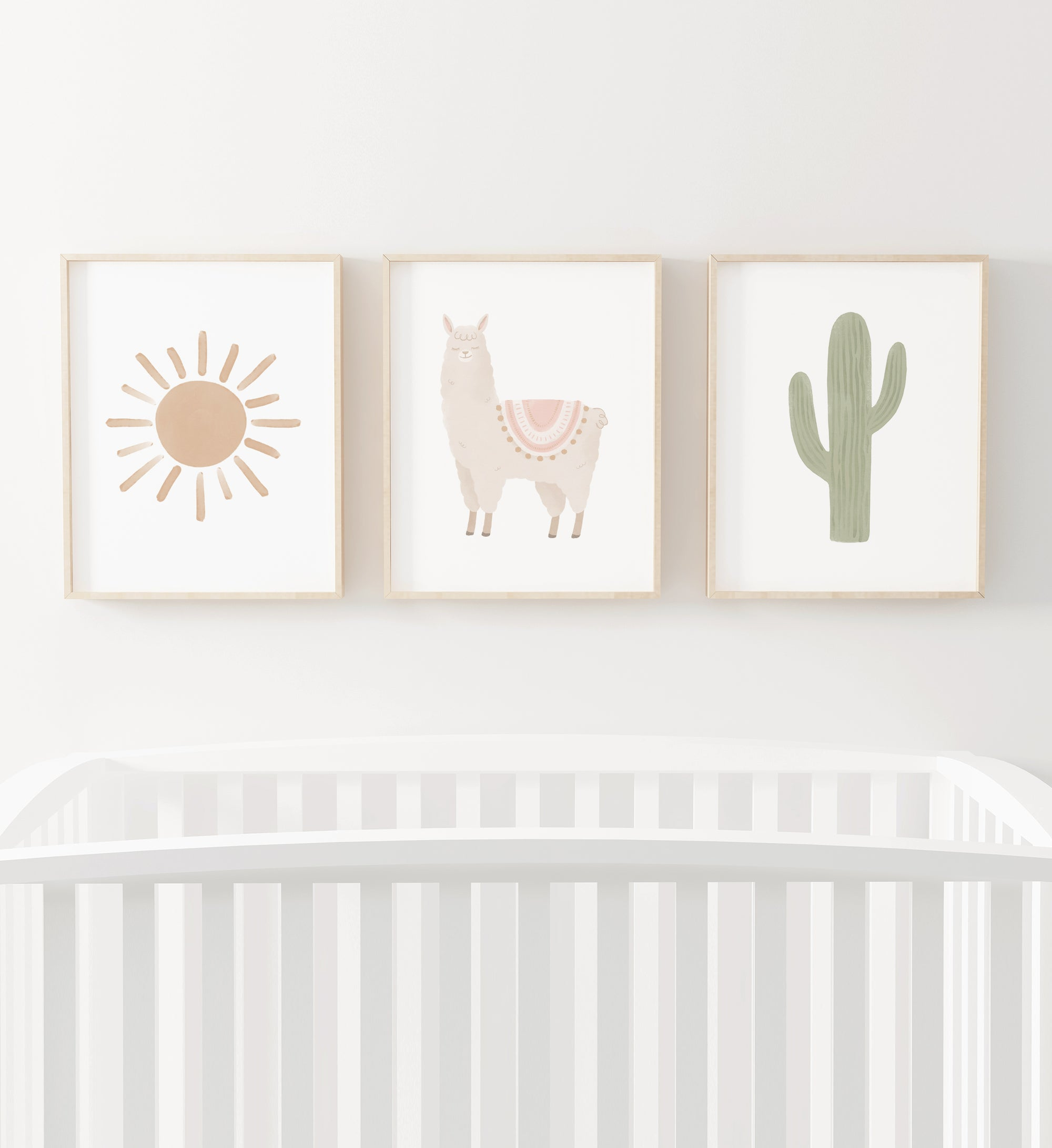 Llama, Cactus, and Sun Set of 3 Prints - Pink and Neutral
