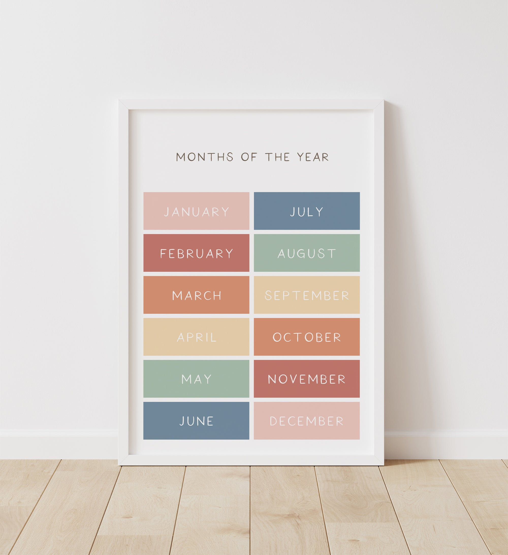 Months of the Year - Muted Rainbow