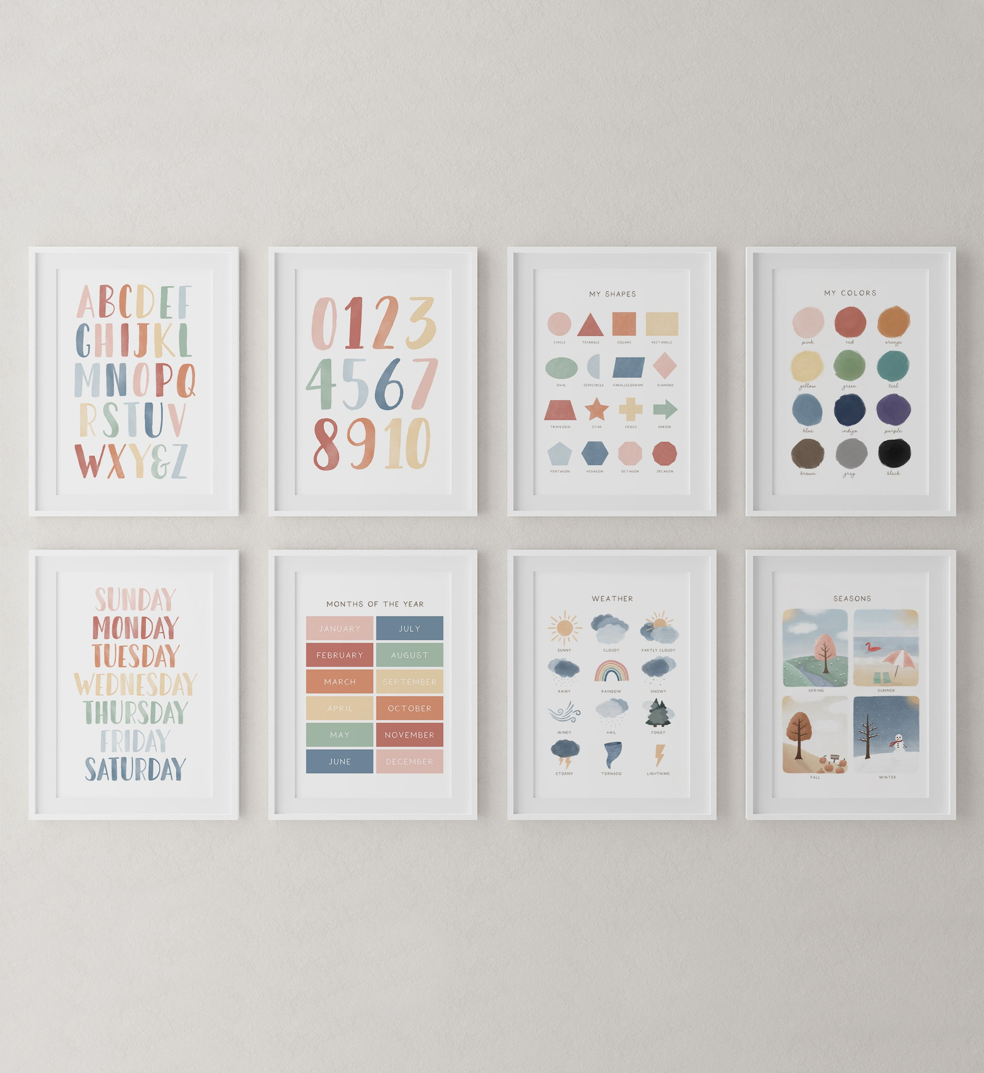 Educational Set of 8 Prints - Muted Rainbow