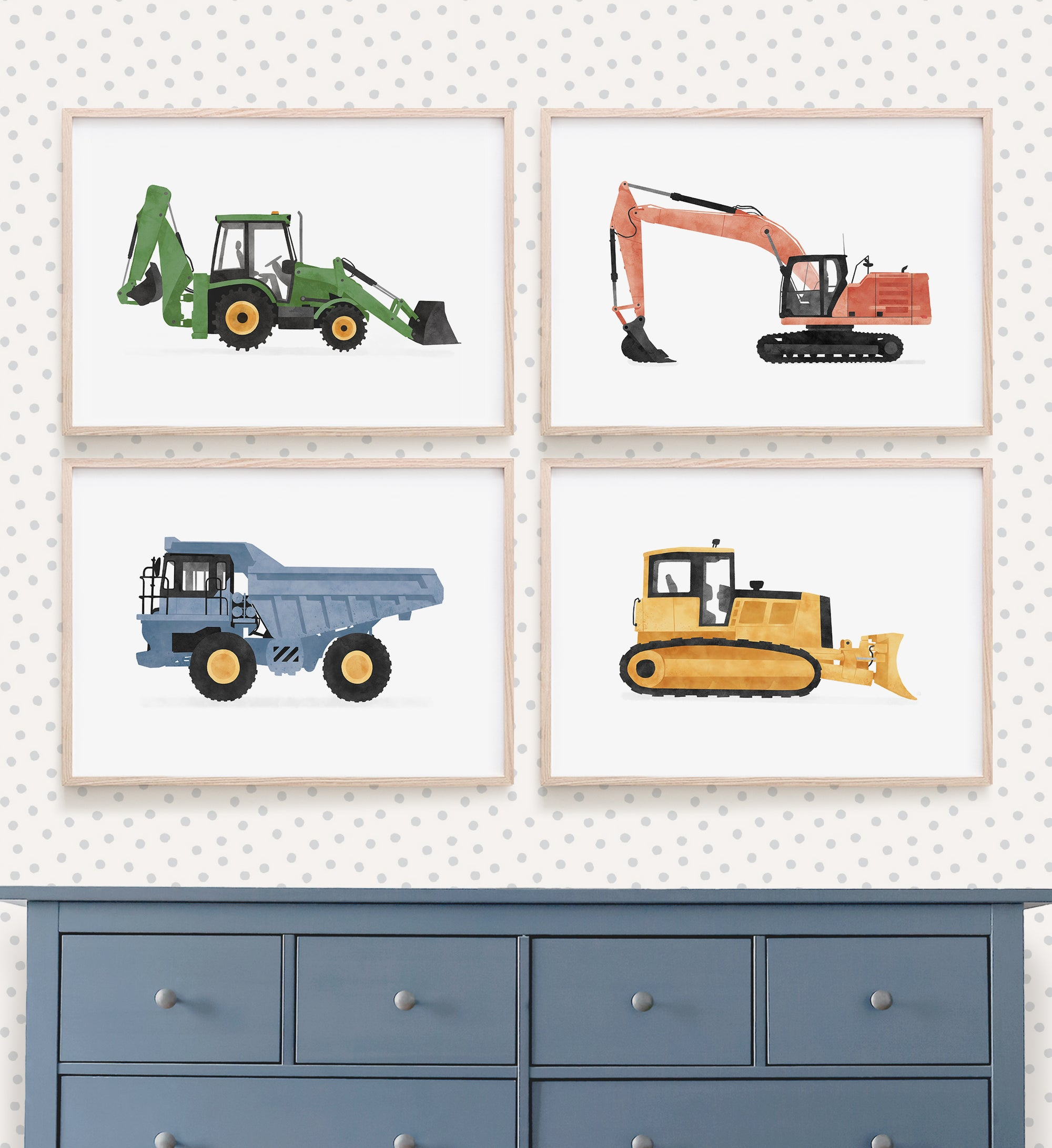 Set of 4 Construction Vehicles - Colorful