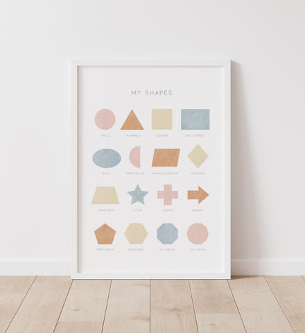 Pink Blue and Neutral Shapes Print