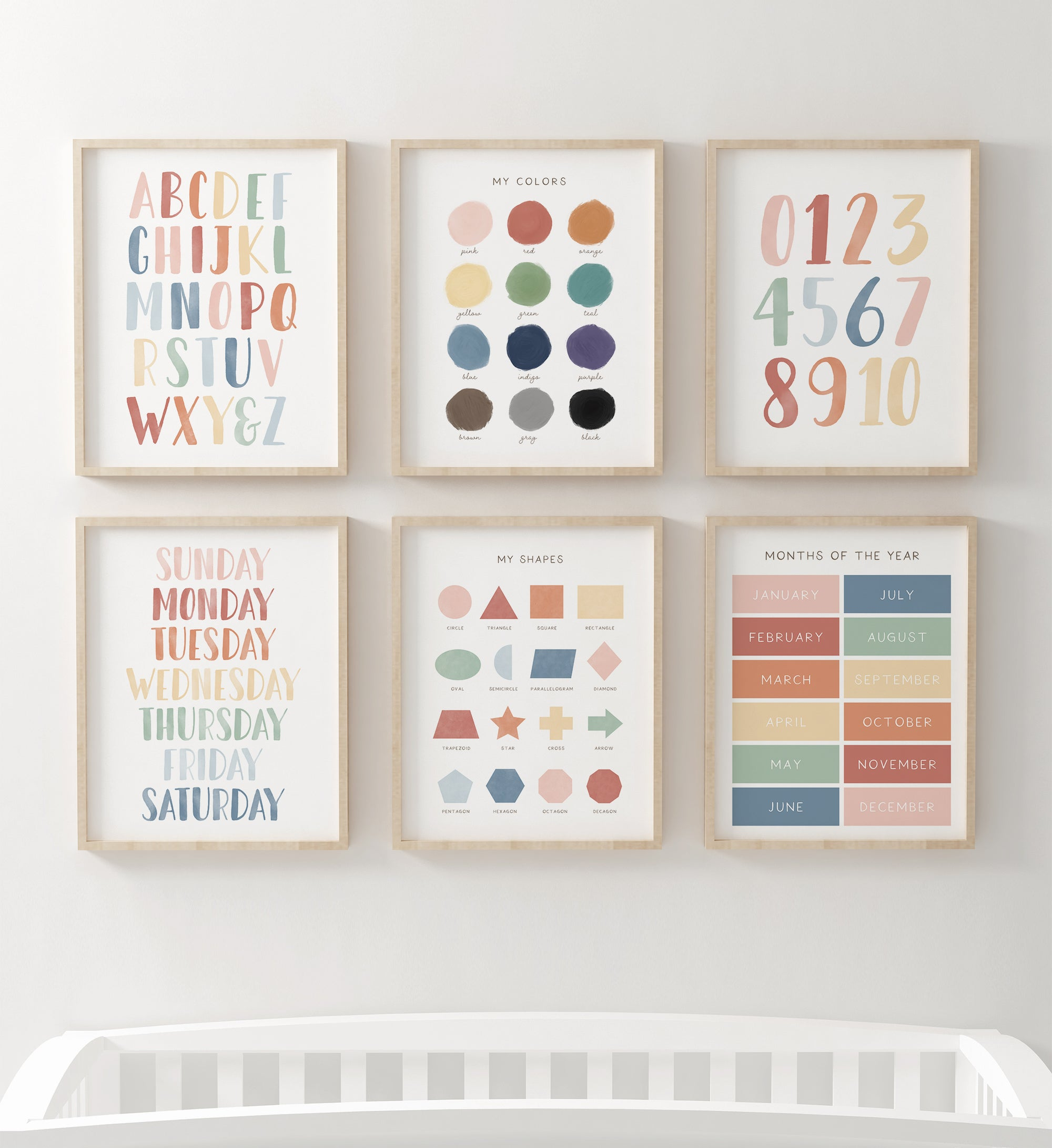 Educational Set of 6 - Muted Rainbow