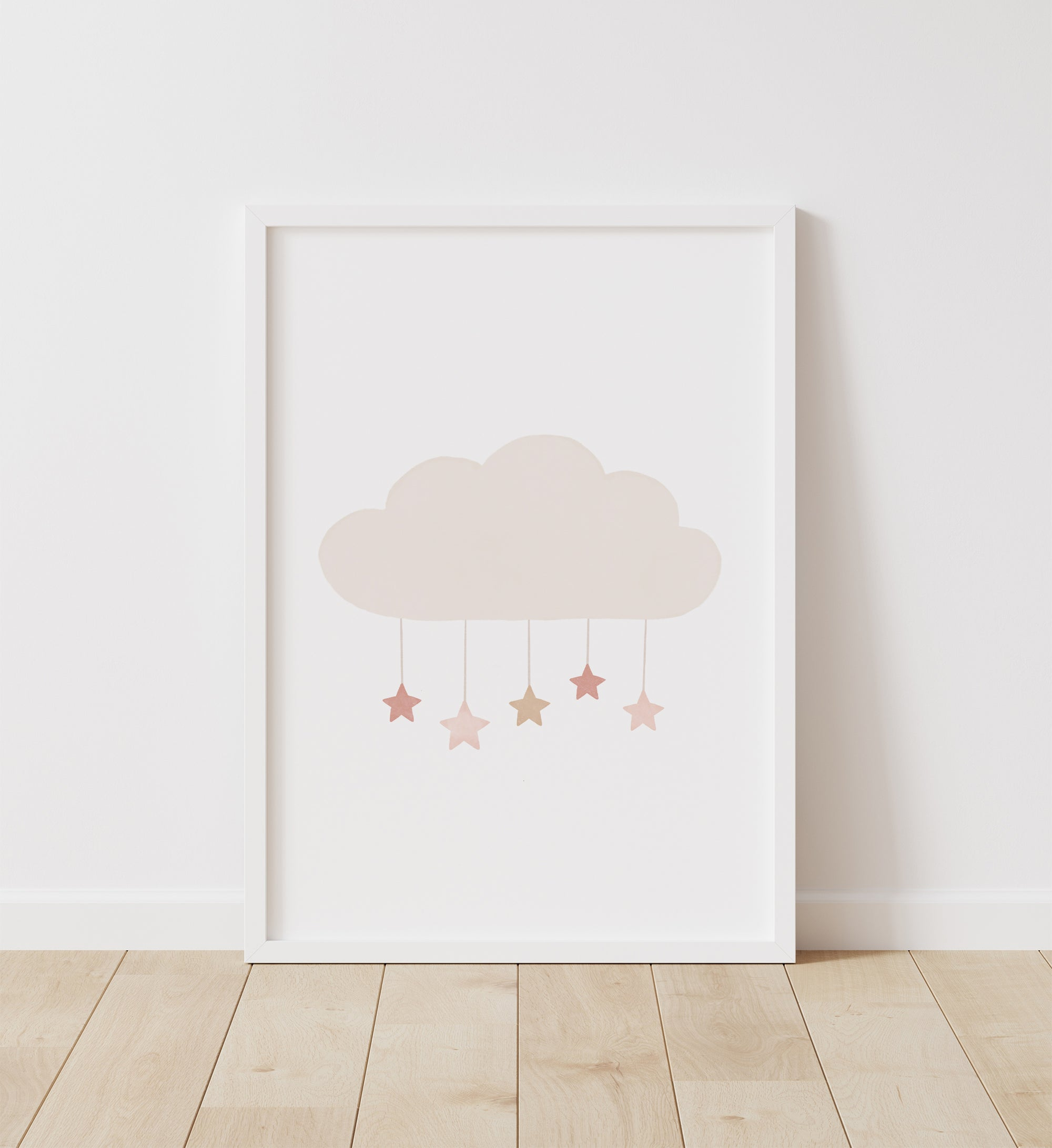 Cloud with Stars - Pink and Neutral