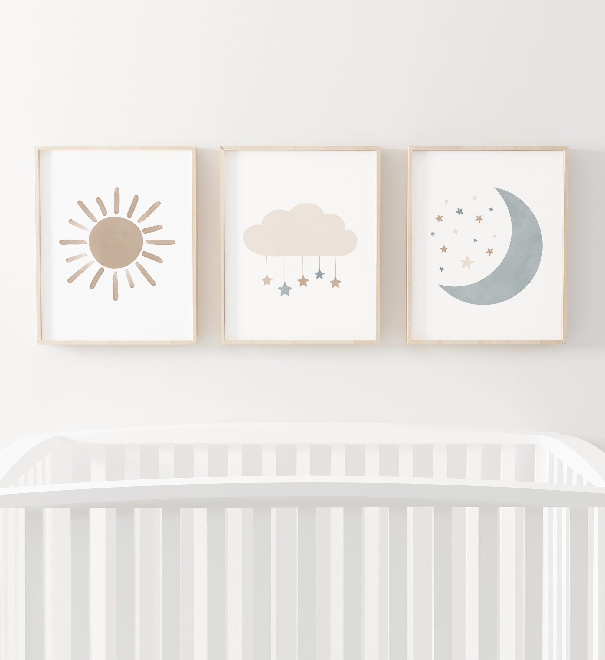 Sun, Cloud, and Moon - Blue and Neutral