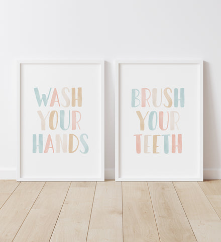 Wash Your Hands & Brush Your Teeth - Pink & Turquoise