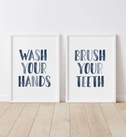 Wash Your Hands & Brush Your Teeth - Navy