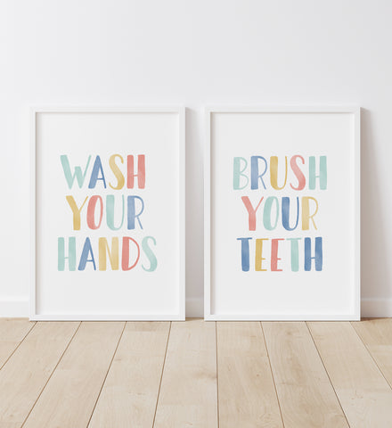 Wash Your Hands & Brush Your Teeth - Rainbow