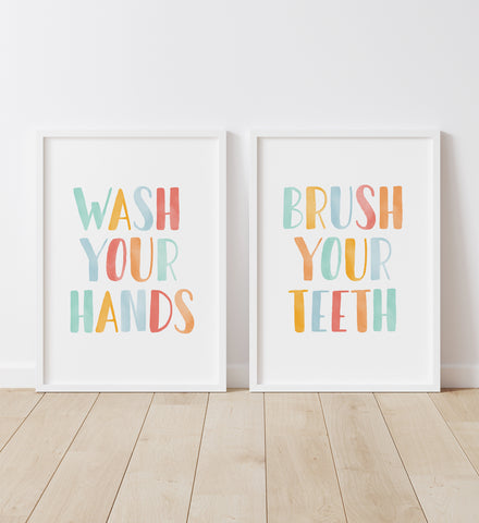Wash Your Hands & Brush Your Teeth - Colorful