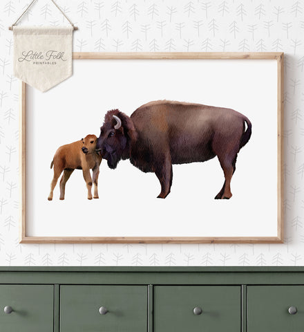 Baby and Mama Bison Print