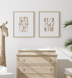 Neutral Brown Alphabet and Numbers - Set of 2 Prints