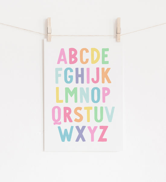 Alphabet and Numbers Set of 2 Prints - Pastel