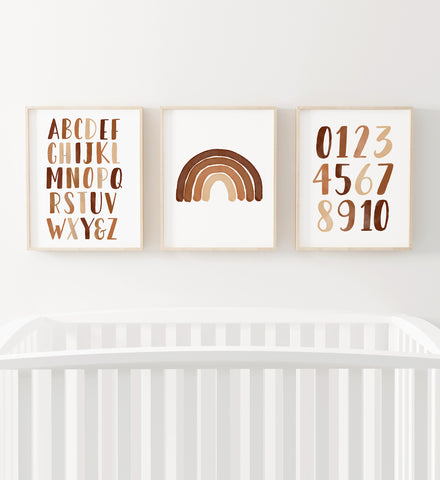 Burnt Orange Rainbow, Alphabet, and Numbers Set of 3 Prints