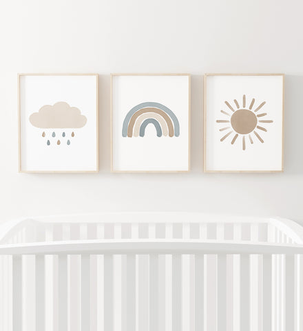 Blue and Neutral Rainbow, Sun, and Cloud - Set of 3 Prints