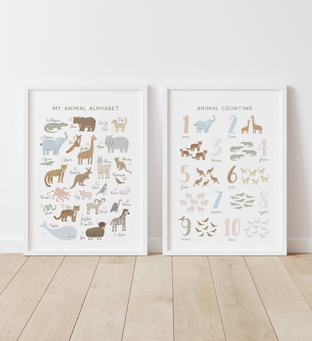 Animal Alphabet and Numbers - Set of 2 Prints