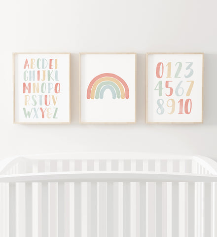 Rainbow, Alphabet, and Numbers Set of 3 Prints