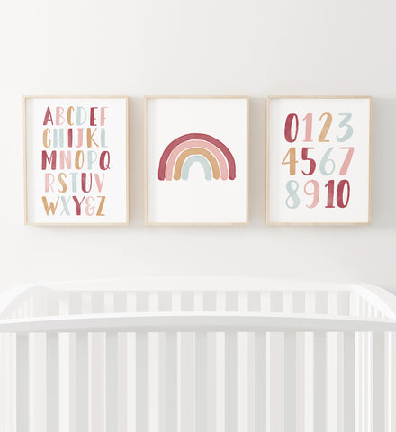 Pink Rainbow, Alphabet, and Numbers Set of 3 Prints