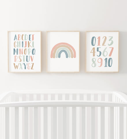 Pastel Rainbow, Alphabet, and Numbers Set of 3 Prints