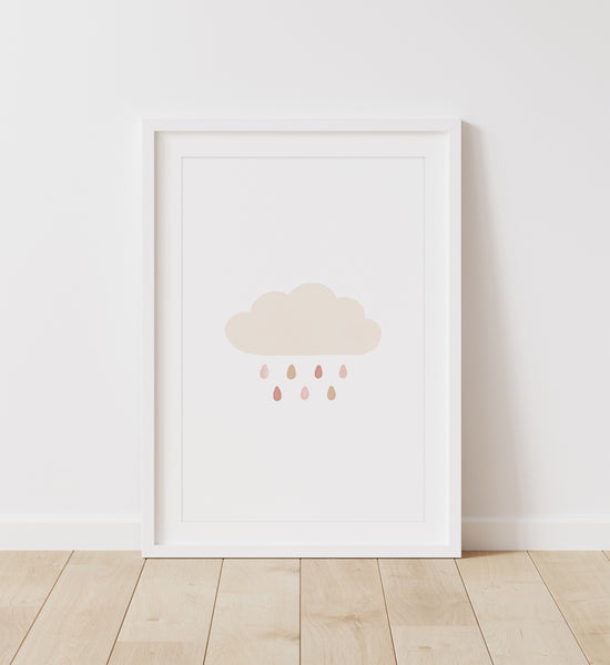 Neutral Rainbow, Sun, and Cloud Set of 3 Prints