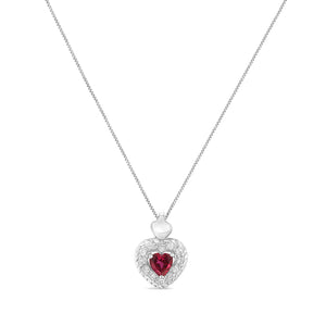 Sterling Silver 1/3ct TDW Ruby Heart and Diamond