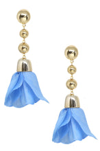 Load image into Gallery viewer, Flower Petal Drop Earrings in Blue and Gold