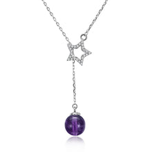 Load image into Gallery viewer, Purple Bead & Star Sterling Silver Necklace