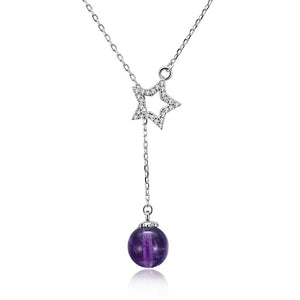 Purple Bead & Star Sterling Silver Necklace