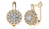 14K Gold Plating Large Floral White Sapphire Earrings